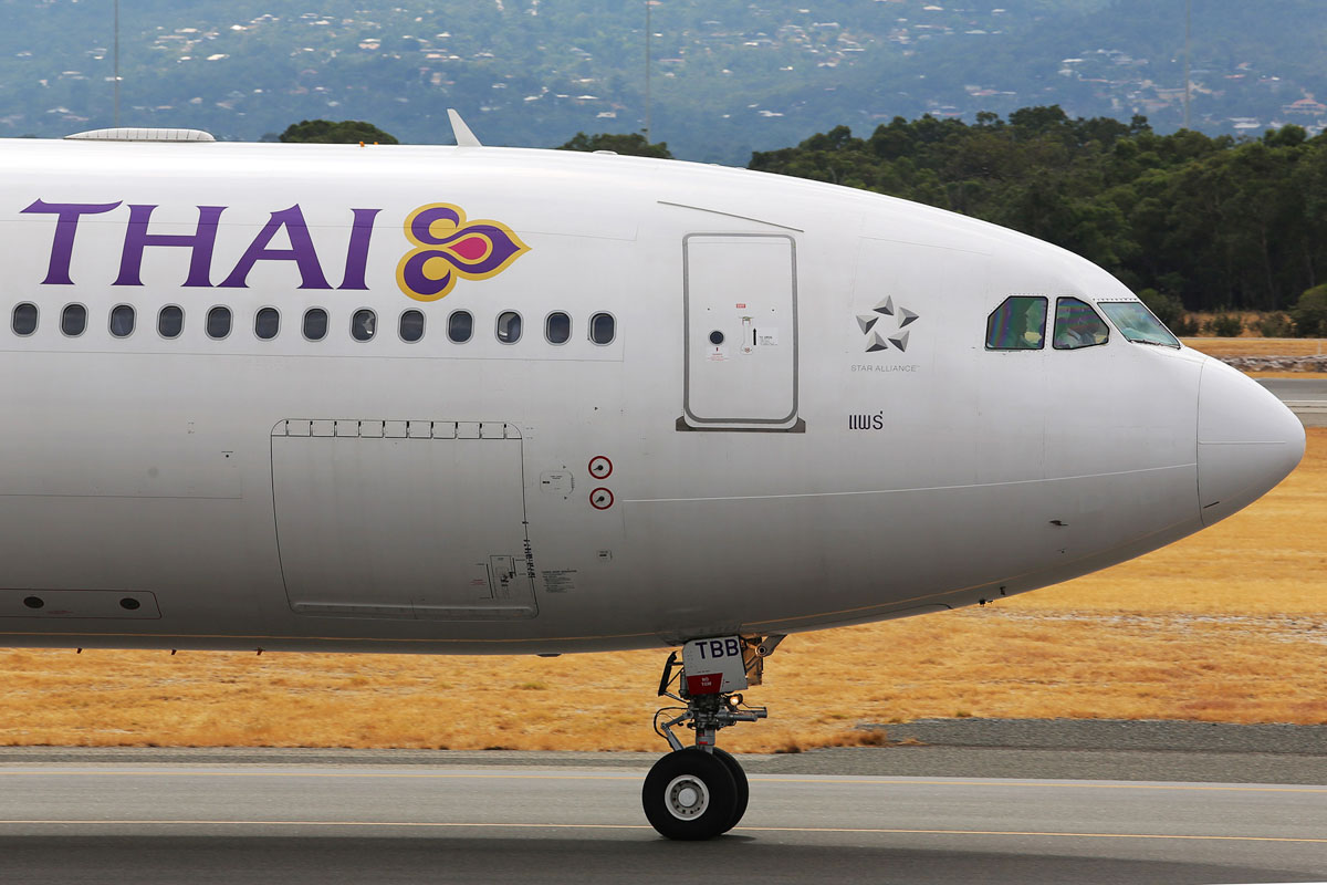 "HS-TBB Airbus A330-343X (MSN 1269) of Thai Airways International, named ""Phrae"", at Perth Airport - Sat 25 January 2014. Photo © Matt Hayes"