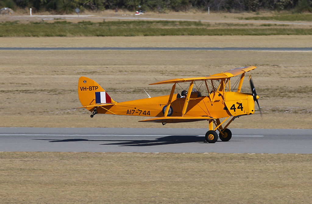 VH-BTP / A17-744 De Havilland DH-82A Tiger Moth (MSN DHA1075/T315) owned by Clark Rees, at Jandakot Airport – Sun 26 January 2014. Photo © Keith Anderson