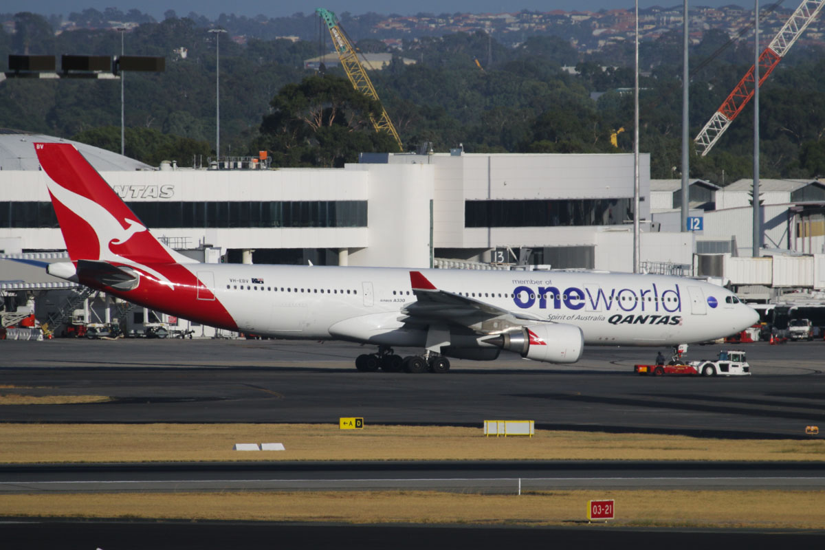 "VH-EBV Airbus A330-202 (MSN 1365) of Qantas (leased from CIT Aerospace), with Oneworld titles, named ""Kangaroo Island"" at Perth Airport – Tue 28 January 2014. Photo © David Eyre"