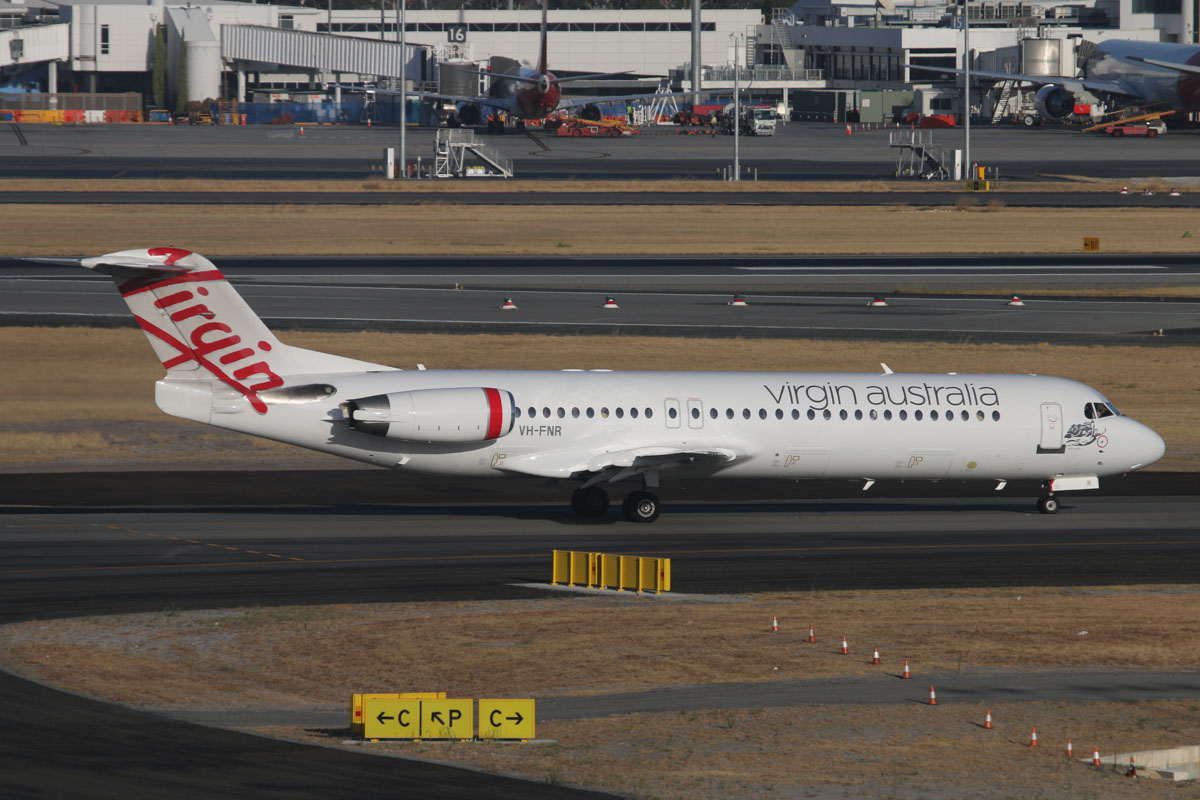 "VH-FNR Fokker 100 (MSN 11488) of Virgin Australia Regional Airlines, named ""Lake Argyle"" at Perth Airport – Tue 28 January 2014. Photo © David Eyre"