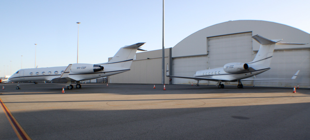 VH-CGF Gulfstream Aerospace G-IV (MSN 1083) & VH-CCC Gulfstream Aerospace G-V (MSN 581) of Crown Melbourne Ltd at Perth Airport - Tue 21 January 2014. Photo © Wilson