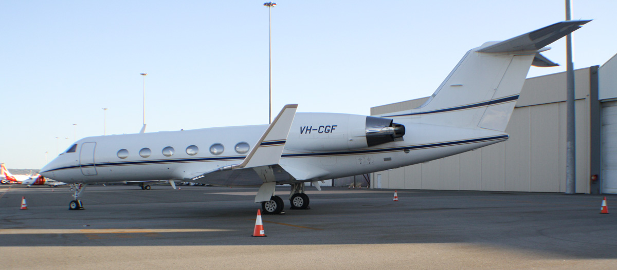 VH-CGF Gulfstream Aerospace G-IV (MSN 1083) of Crown Melbourne Ltd at Perth Airport - Tue 21 January 2014. Photo © Wilson