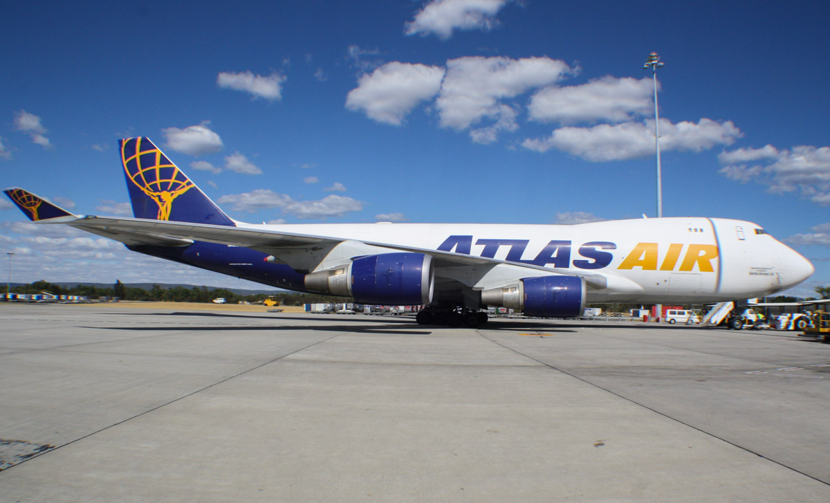 N493MC Boeing 747-47UF (MSN 29254 / 1179) of Atlas Air (operated for Qantas Freight) at Perth Airport - Thu 23 January 2014. Photo © Wilson