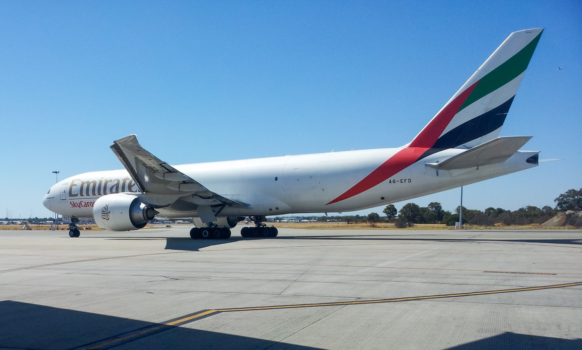 A6-EFD Boeing 777-F1H (MSN 35610/1065) of Emirates SkyCargo (leased from Atlas Air Worldwide Holdings), at Perth Airport – Mon 3 Feb 2014. Photo © Wilson