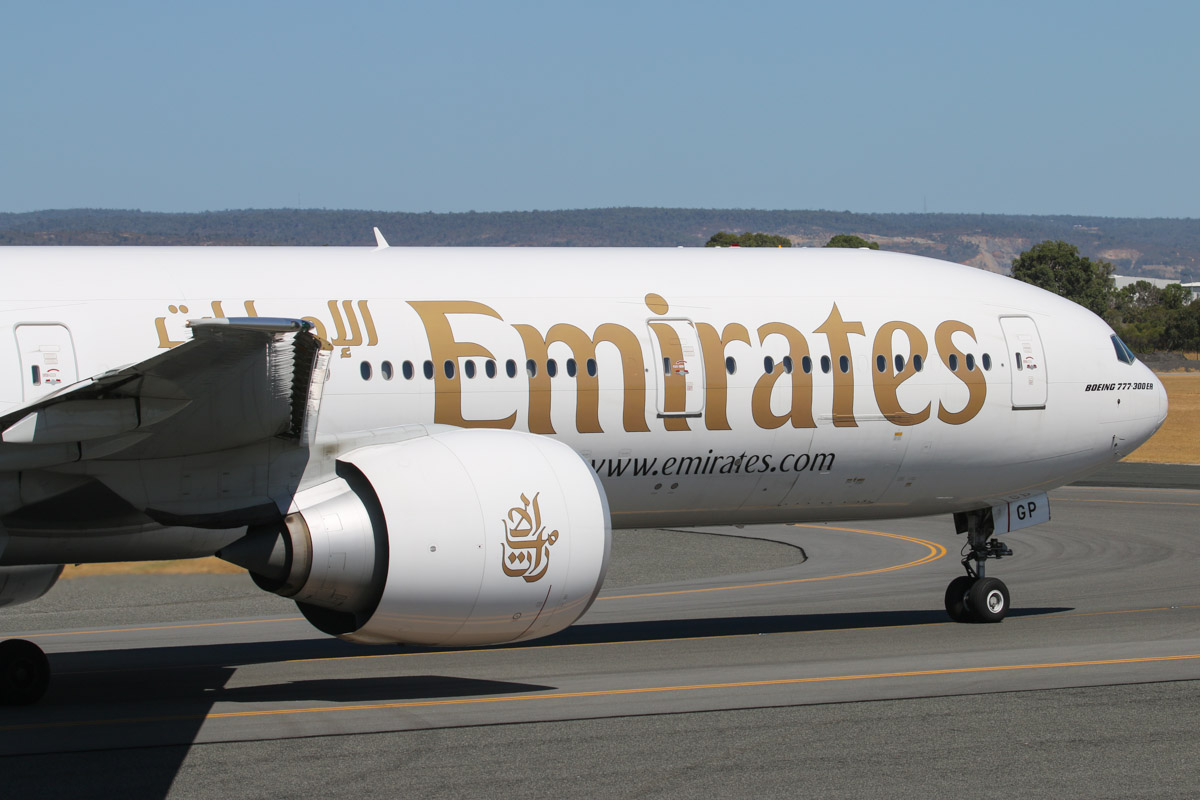 A6-EGP Boeing 777-31HER (MSN 35599/1010) of Emirates at Perth Airport – Mon 3 February 2014. Photo © David Eyre