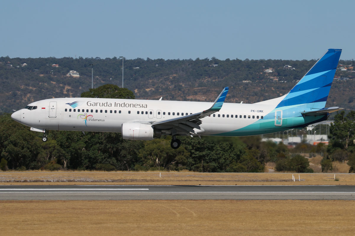 PK-GMK Boeing 737-8U3 (MSN 29666/3171) of Garuda Indonesia (leased from BBAM) at Perth Airport - Mon 3 February 2014. Photo © David Eyre