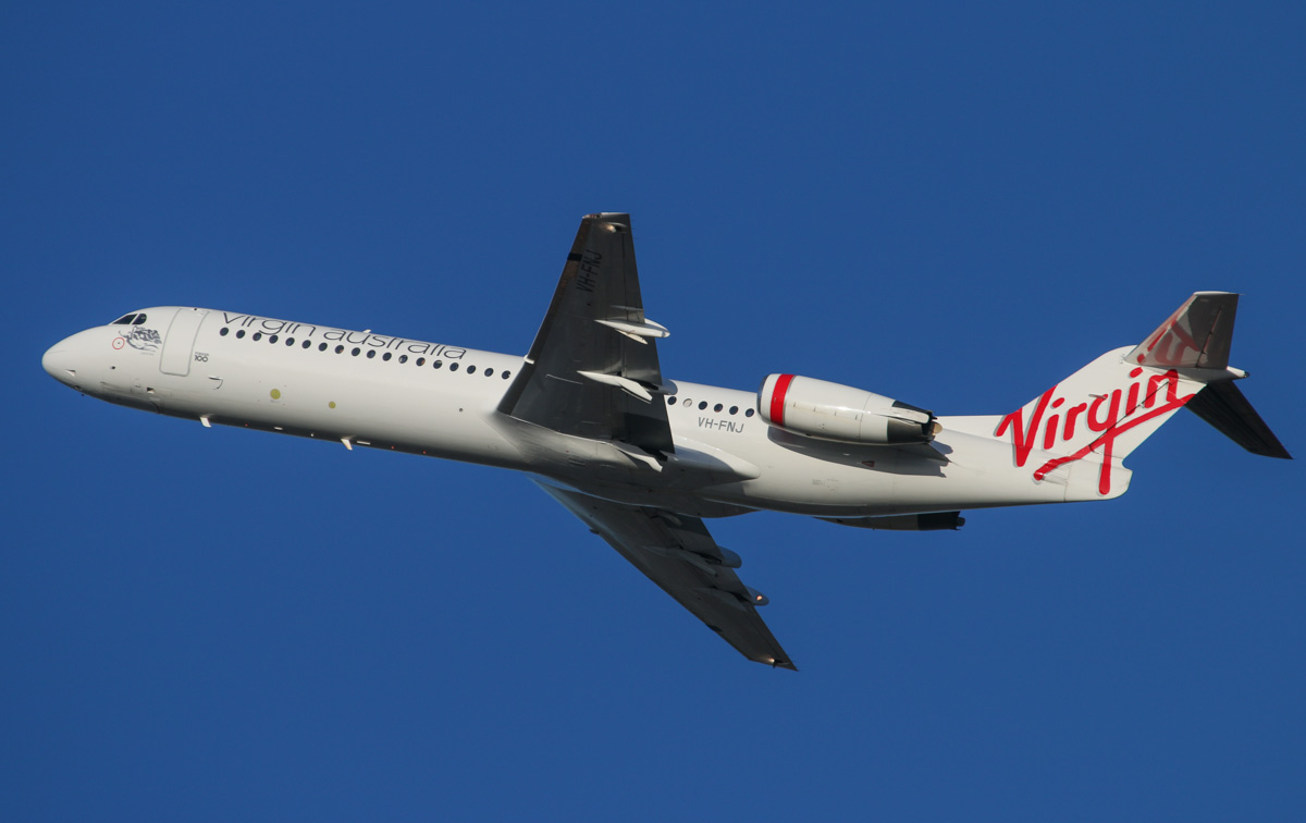 "VH-FNJ Fokker 100 (MSN 11489) of Virgin Australia Regional Airlines, named ""Talbot Bay"" at Perth Airport – Fri 7 February 2013. Photo © David Eyre"
