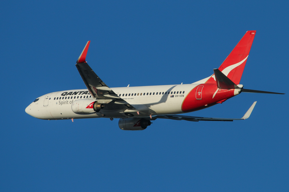 "VH-VXN Boeing 737-838 (MSN 33484/1180) of Qantas, named ""Fremantle"" at Perth Airport - Fri 7 February 2014. Photo © David Eyre"