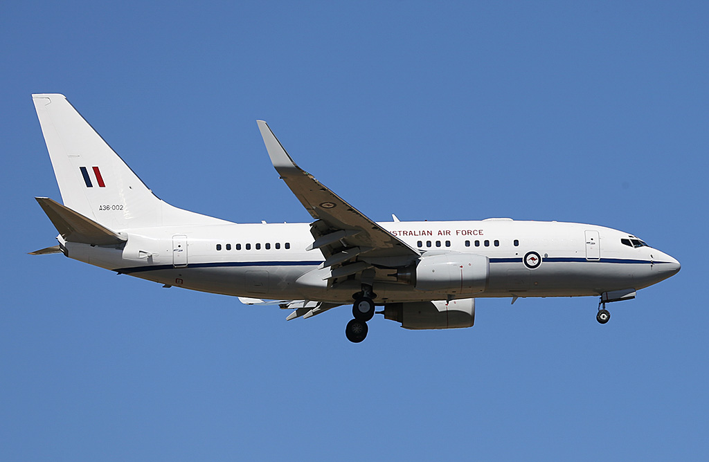A36-002 Boeing 737-7DT (BBJ) (MSN 30790/613) of 34 Squadron, Royal Australian Air Force (leased from GECAS), based at Fairbairn (Canberra), ACT, at Perth Airport – Sun 9 February 2014. Photo © Keith Anderson