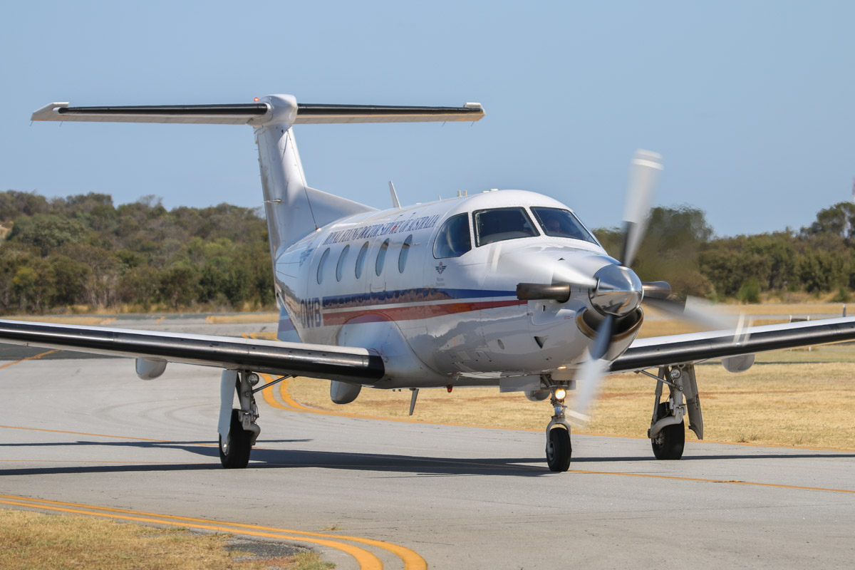 VH-OWB Pilatus PC-12/47E (MSN 1104) of the Royal Flying Doctor Service (Western Operations) at Jandakot Airport – Tue 11 February 2014. Photo © David Eyre
