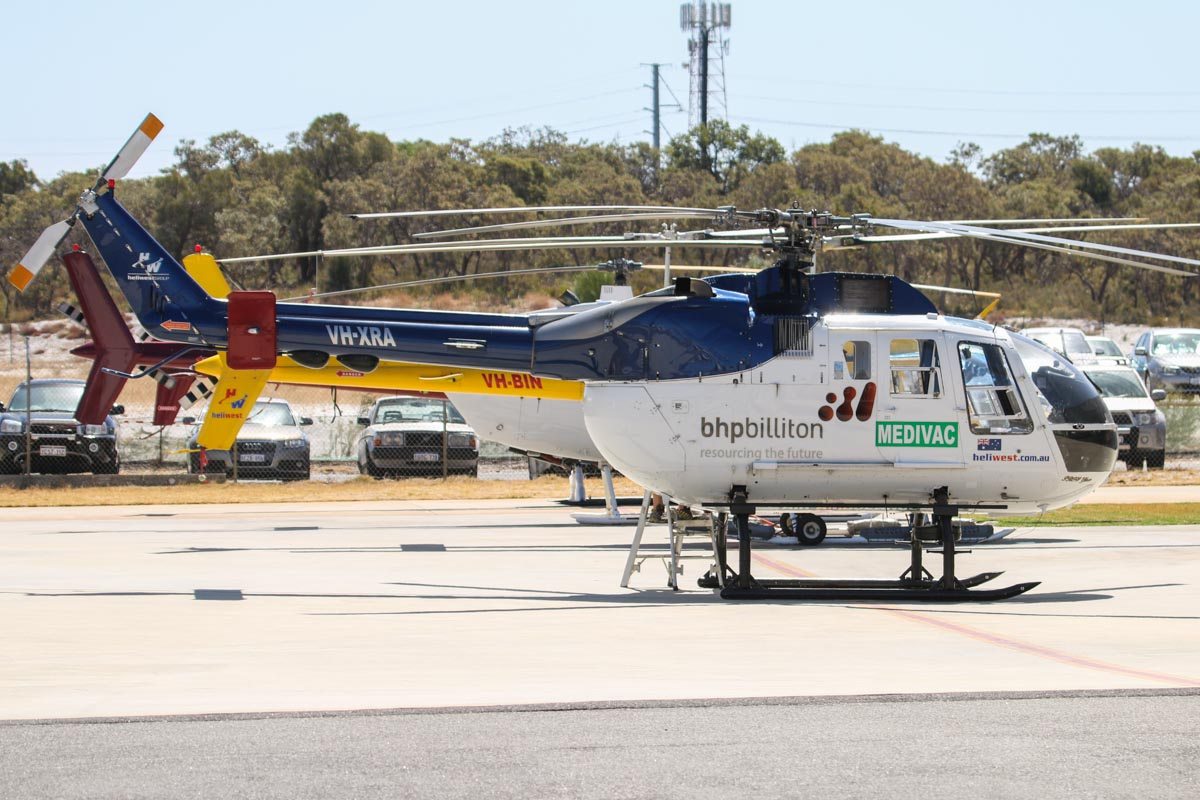VH-XRA Eurocopter Bo-105LS-A3 (MSN 2015) of Heliwest (Helibits Pty Ltd) - BHP Billiton Medivac titles, at Jandakot Airport - Tue 11 February 2014. Photo © David Eyre