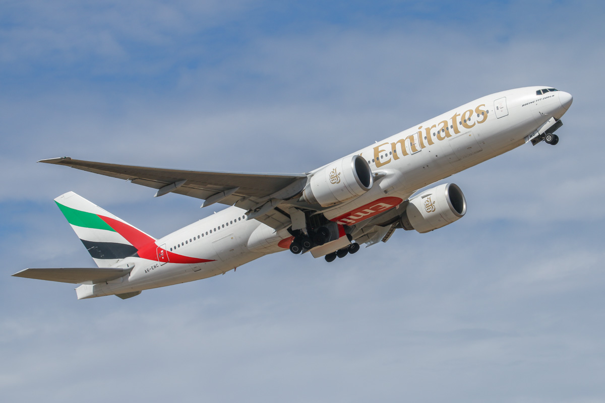 A6-EWC Boeing 777-21H LR (MSN 35576/677) of Emirates, at Perth Airport – Wed 12 February 2014. Photo © David Eyre