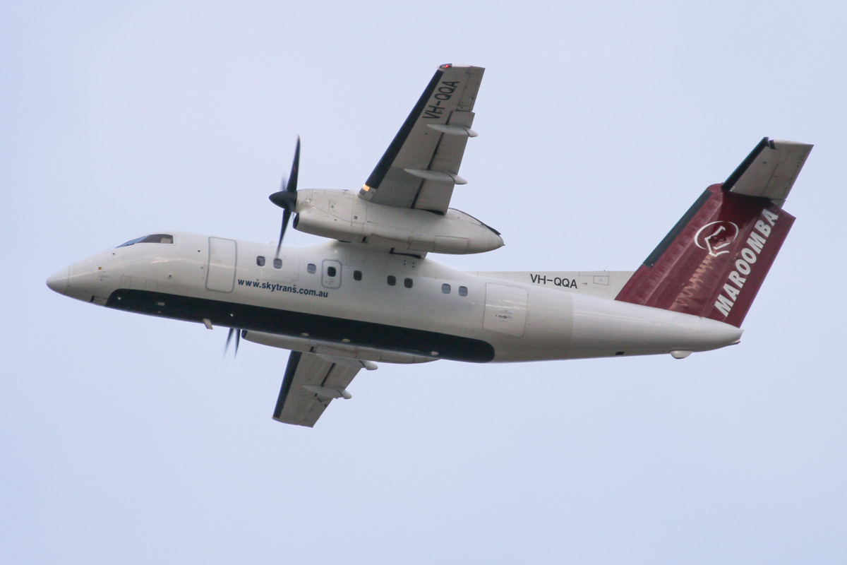 VH-QQA De Havilland Canada DHC-8-102 Dash 8 (MSN 5) of Maroomba Airlines, at Perth Airport – Wed 12 February 2014. Photo © David Eyre