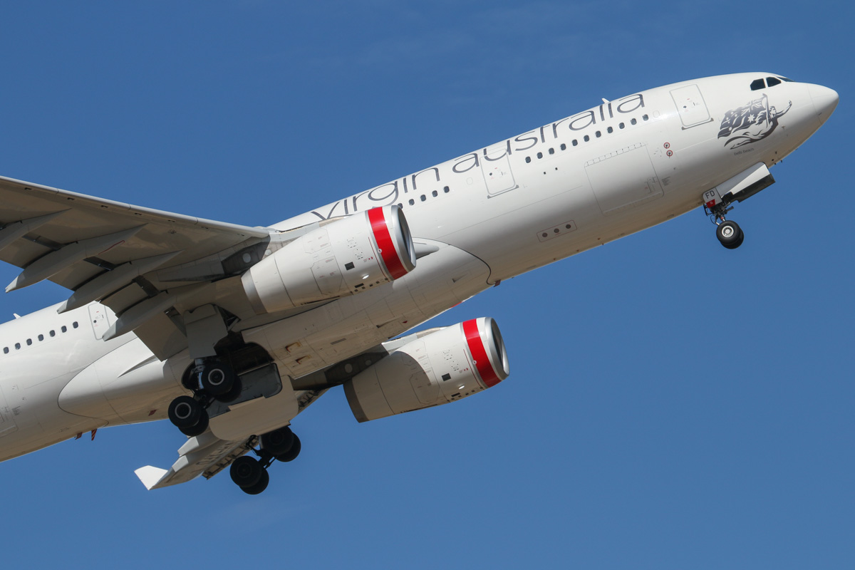 """VH-XFD Airbus A330-243 (MSN 1306) of Virgin Australia, named """"Bells Beach"""", at Perth Airport – Wed 12 February 2014. Photo © David Eyre"""