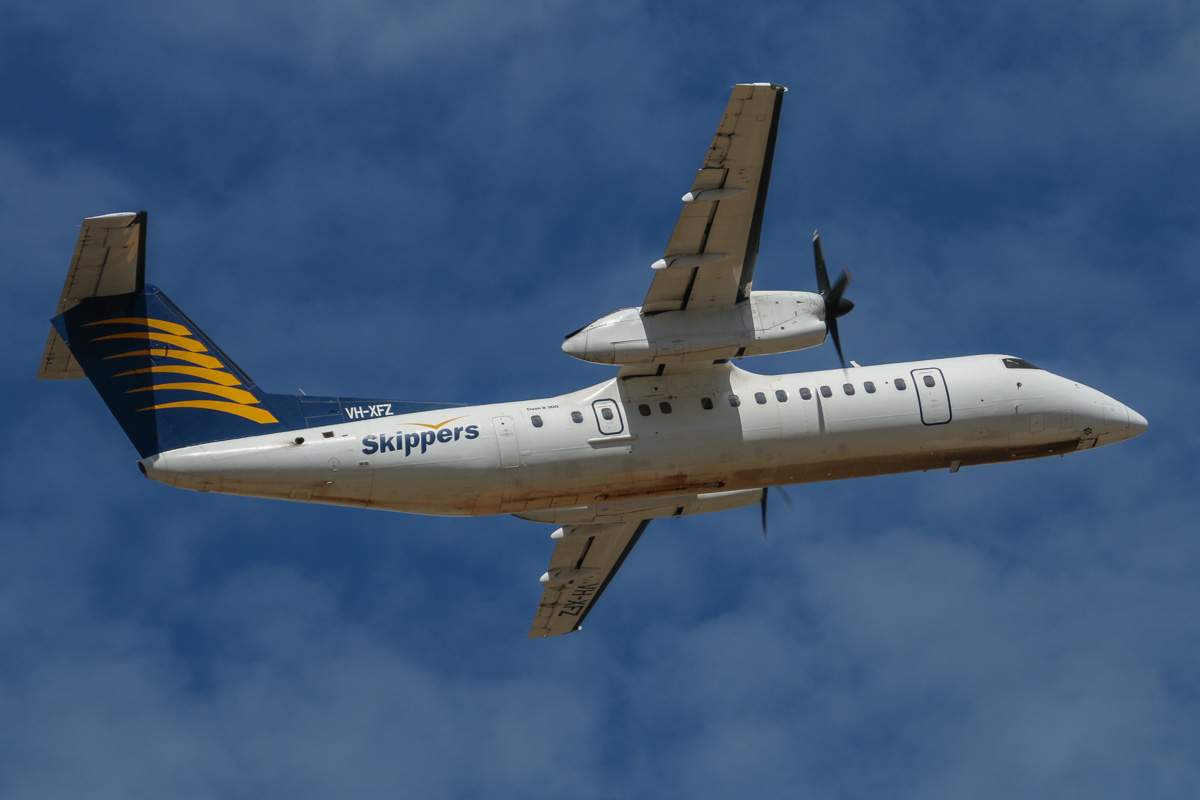 VH-XFZ De Havilland Canada DHC-8-314 Dash 8 (MSN 365) of Skippers Aviation, at Perth Airport – Wed 12 February 2014. Photo © David Eyre