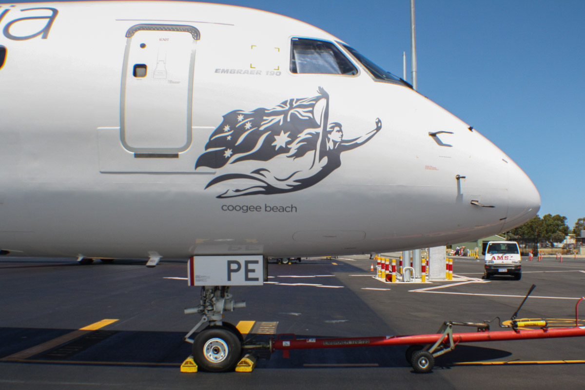 "VH-ZPE Embraer 190AR (ERJ-190-100IGW) (MSN 19000187) of Virgin Australia, named ""Coogee Beach"", at Perth Airport – Wed 12 February 2014. Photo © Wilson"