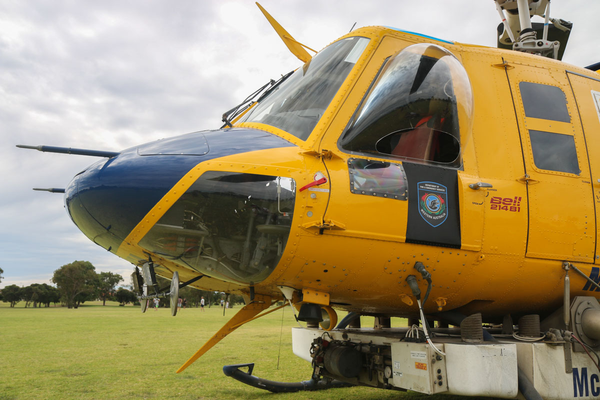 P2-MLJ / HELITAK 674 Bell 214B1 BigLifter (MSN 28066) of McDermott Aviation, operated for the WA Department of Fire and Emergency Services, at Warradale Park, Landsdale – Sun 16 February 2014. Photo © David Eyre