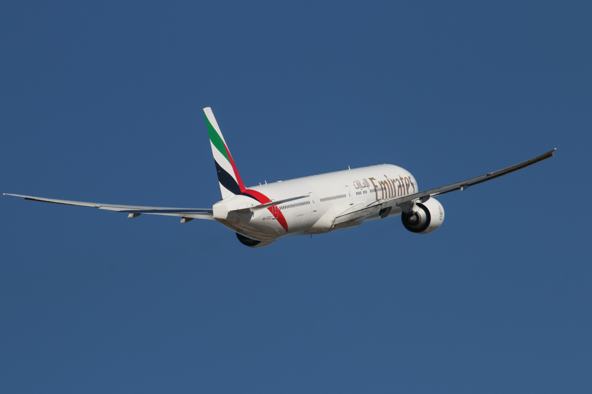 A6-EGO Boeing 777-31HER (MSN 35598/1000) of Emirates at Perth Airport – Wed 19 February 2014. Photo © David Eyre