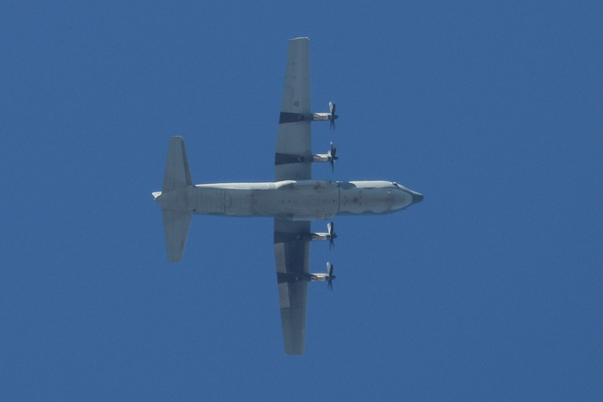 A97-4.. Lockheed-Martin C-130J-30 Hercules of 37 Squadron, RAAF, based at RAAF Richmond, over Perth Airport – Wed 19 February 2014. Photo © David Eyre