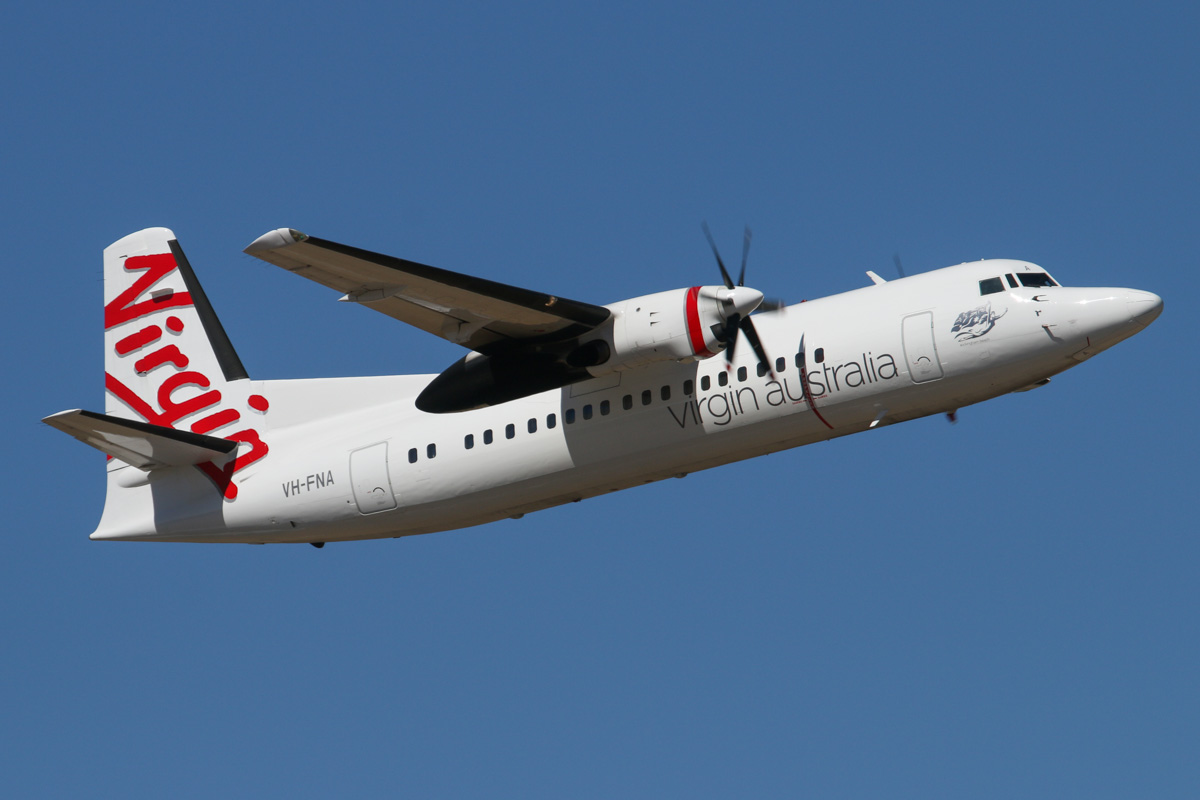 "VH-FNA Fokker 50 (MSN 20106) of Virgin Australia Regional Airlines, named ""Rockingham Beach"", at Perth Airport – Wed 19 February 2014. Photo © David Eyre"