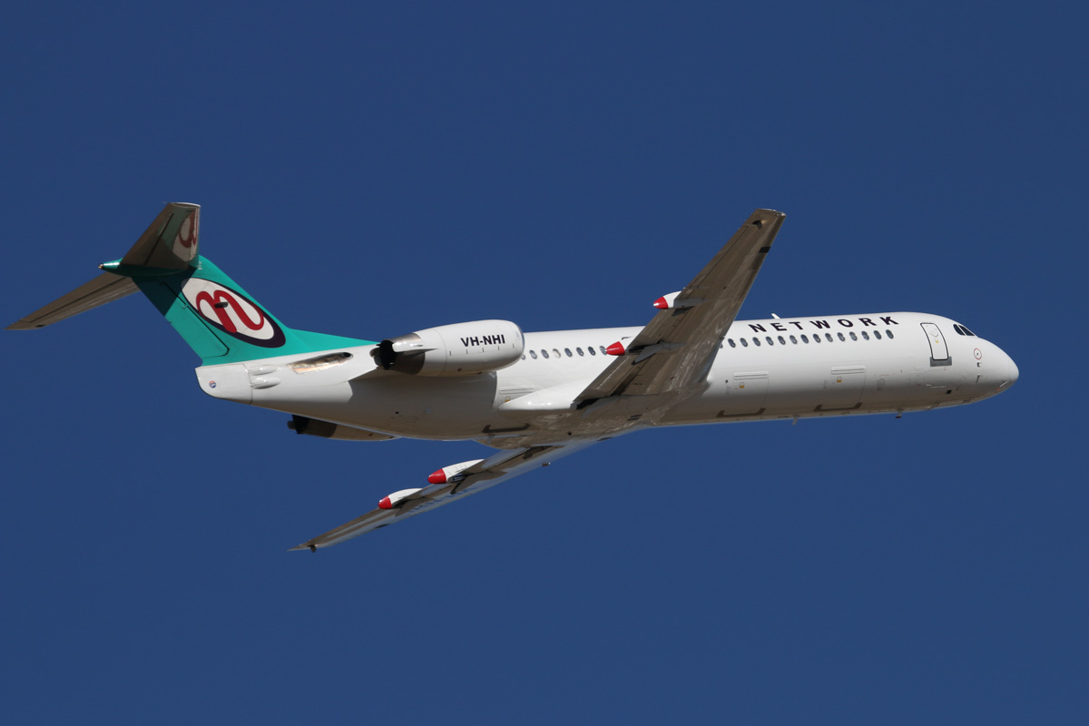 VH-NHI Fokker 100 (MSN 11479) of Network Aviation, at Perth Airport – Wed 19 February 2014. Photo © David Eyre
