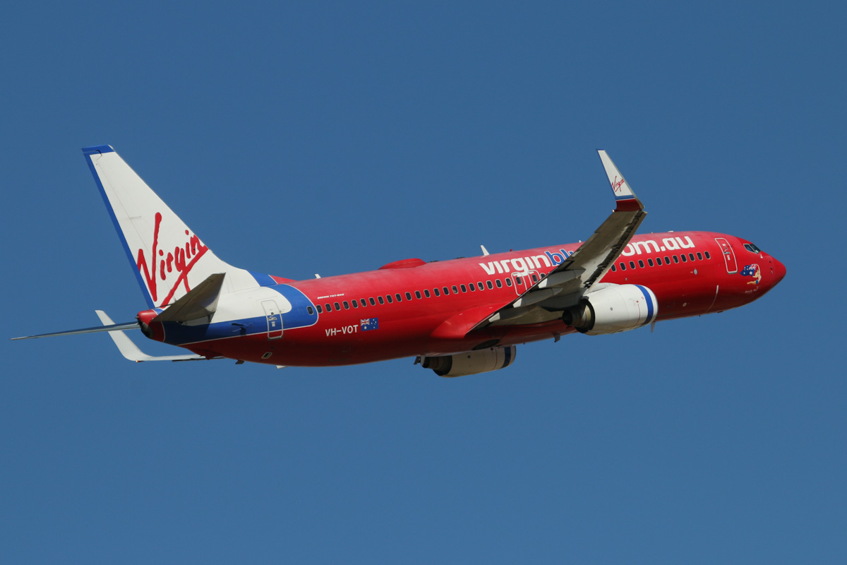 """VH-VOT Boeing 737-8FE (MSN 33801/1504) of Virgin Australia, still in Virgin Blue livery, named """"Butterfly Blue"""", at Perth Airport – Wed 19 February 2014. Photo © David Eyre"""