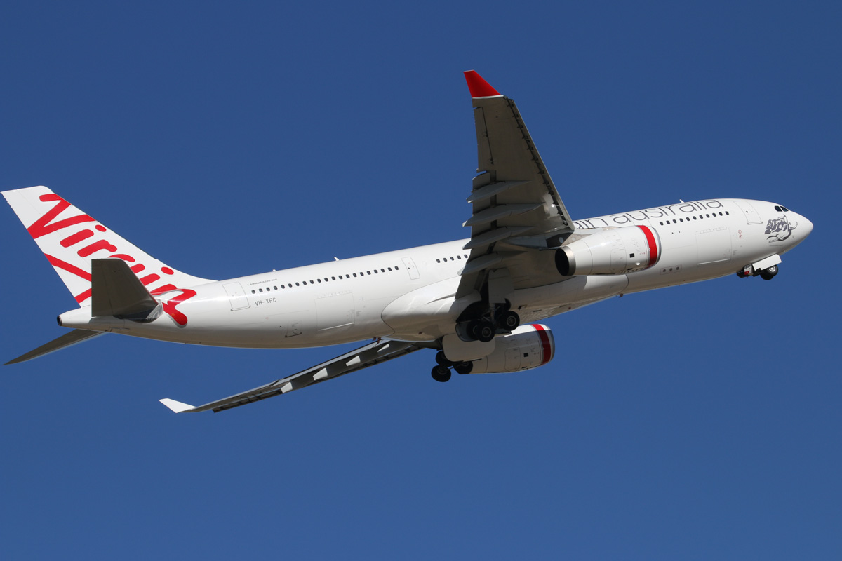 "VH-XFC Airbus A330-243 (MSN 1293) of Virgin Australia, named ""Mooloolabah Beach"", at Perth Airport – Wed 19 February 2014. Photo © David Eyre"