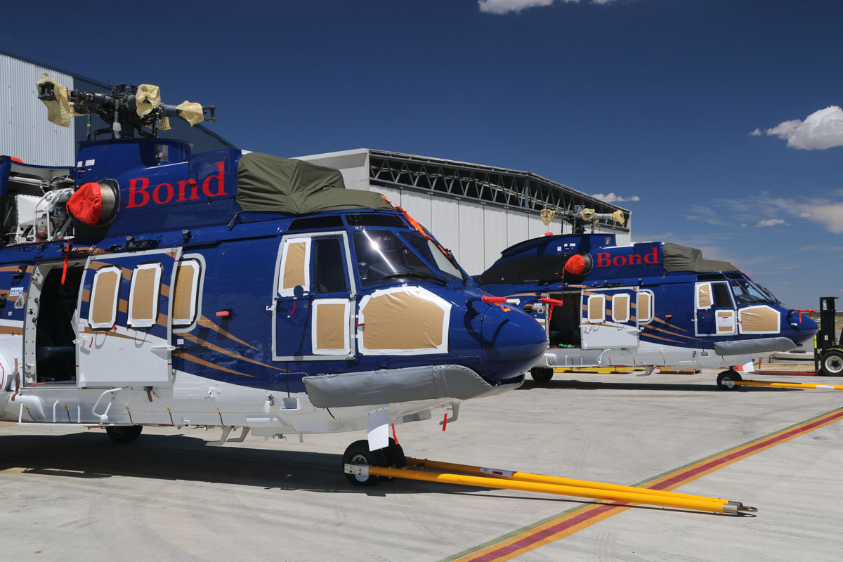 VH-NWC (MSN 2826) & VH-NWG (MSN 2879) Airbus Helicopters EC225LP of Bond Helicopters Australia Pty Ltd at Jandakot Airport – Sat 22 February 2014. Photo © David Eyre