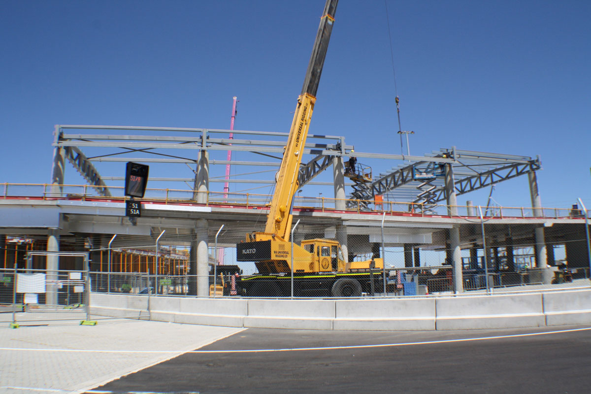 Construction of the upper floor of the new Domestic Pier at Terminal 1, Perth Airport - Wed 19 February 2014. Photo © Wilson