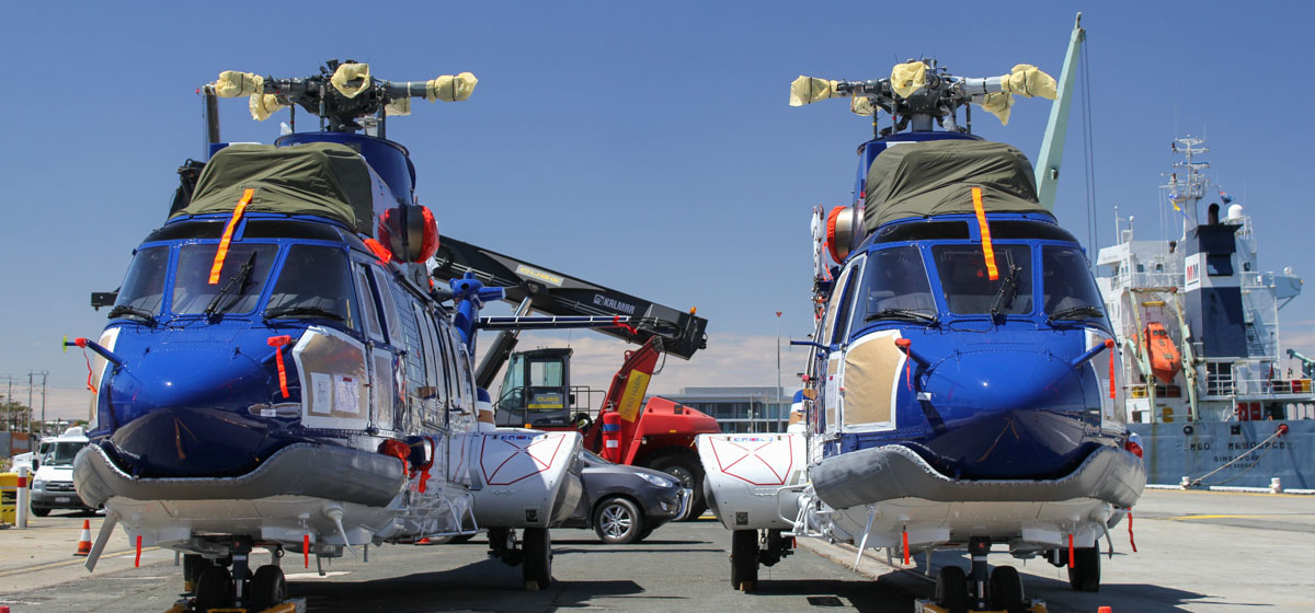 VH-NWC (MSN 2826) & VH-NWG (MSN 2879) Airbus Helicopters EC225LP of Bond Helicopters Australia Pty Ltd, at North Quay, Fremantle - Fri 21 February 2014. Photo © Jim Clark