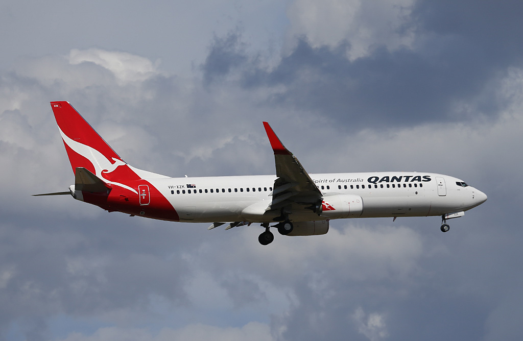 """VH-XZK Boeing 737-838 (MSN 39366/4705) of Qantas, named """"Cook"""", at Perth Airport - Sat 22 February 2014. Photo © Keith Anderson"""