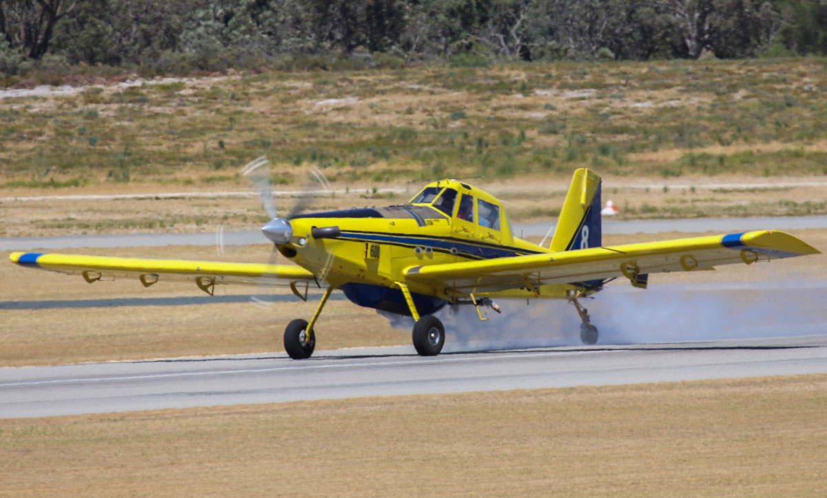 "VH-DUA / BOMBER608 Air Tractor AT802 (MSN 802-0366) owned by Dunn Aviation, named ""Magic"", operated for the WA Government on fire fighting duties, at Jandakot Airport – Sat 1 March 2014. Photo © Steve Jaksic"