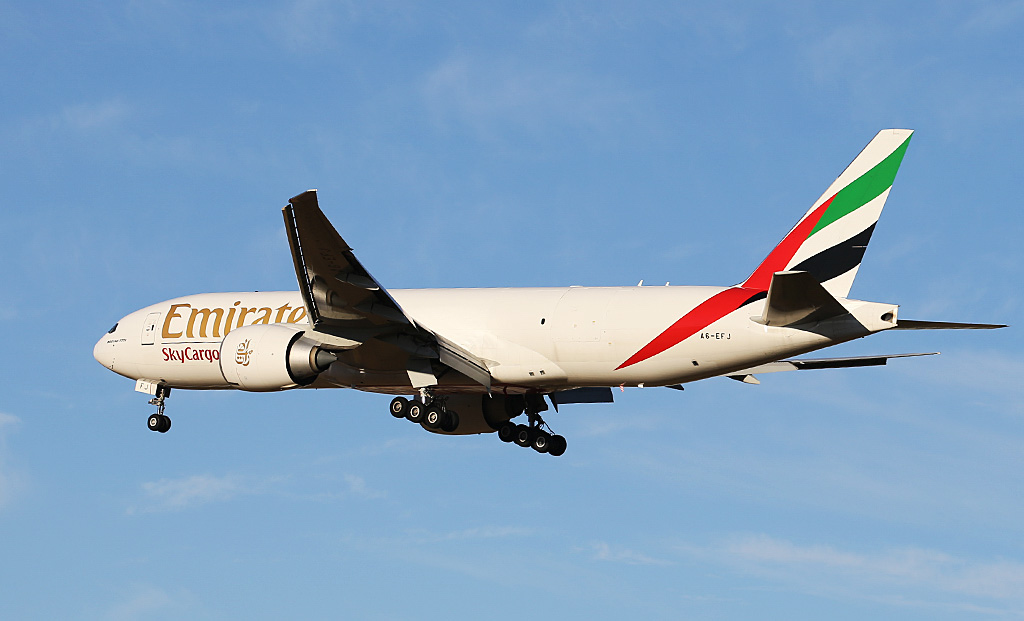 A6-EFJ Boeing 777-F1H (MSN 35610/1065) of Emirates SkyCargo at Perth Airport – Sun 2 March 2014. Photo © Keith Anderson