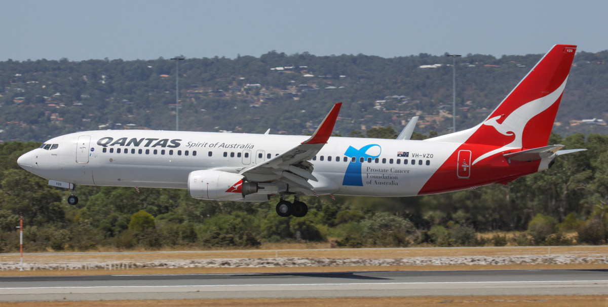 "VH-VZO Boeing 737-838 (MSN 34191/3692) of Qantas, named ""Bendigo"", with Prostate Cancer Foundation of Australia titles, at Perth Airport - Thu 6 March 2014. Photo © Steve Jaksic"