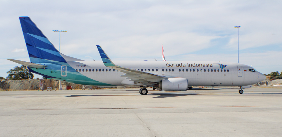 PK-GND Boeing 737-8U3 (MSN 41794/4761) of Garuda Indonesia at Perth Airport - Sat 8 March 2014. Photo © Wilson