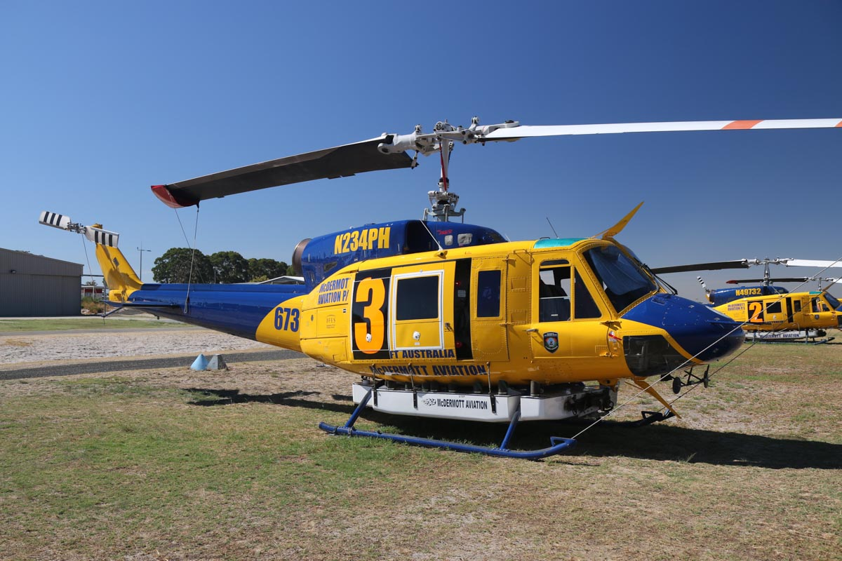 N234PH / HELITAK673 / 3 Bell 214B-1 BigLifter (MSN 28050) of McDermott Aviation, operated for the WA Department of Fire and Emergency Services, at Jandakot Airport – Mon 17 March 2014. Photo © David Eyre