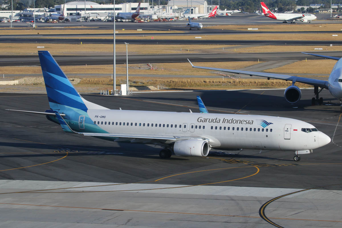 PK-GMS Boeing 737-8U3 (MSN 38071/3855) of Garuda Indonesia at Perth Airport – Mon 17 March 2014. Photo © David Eyre