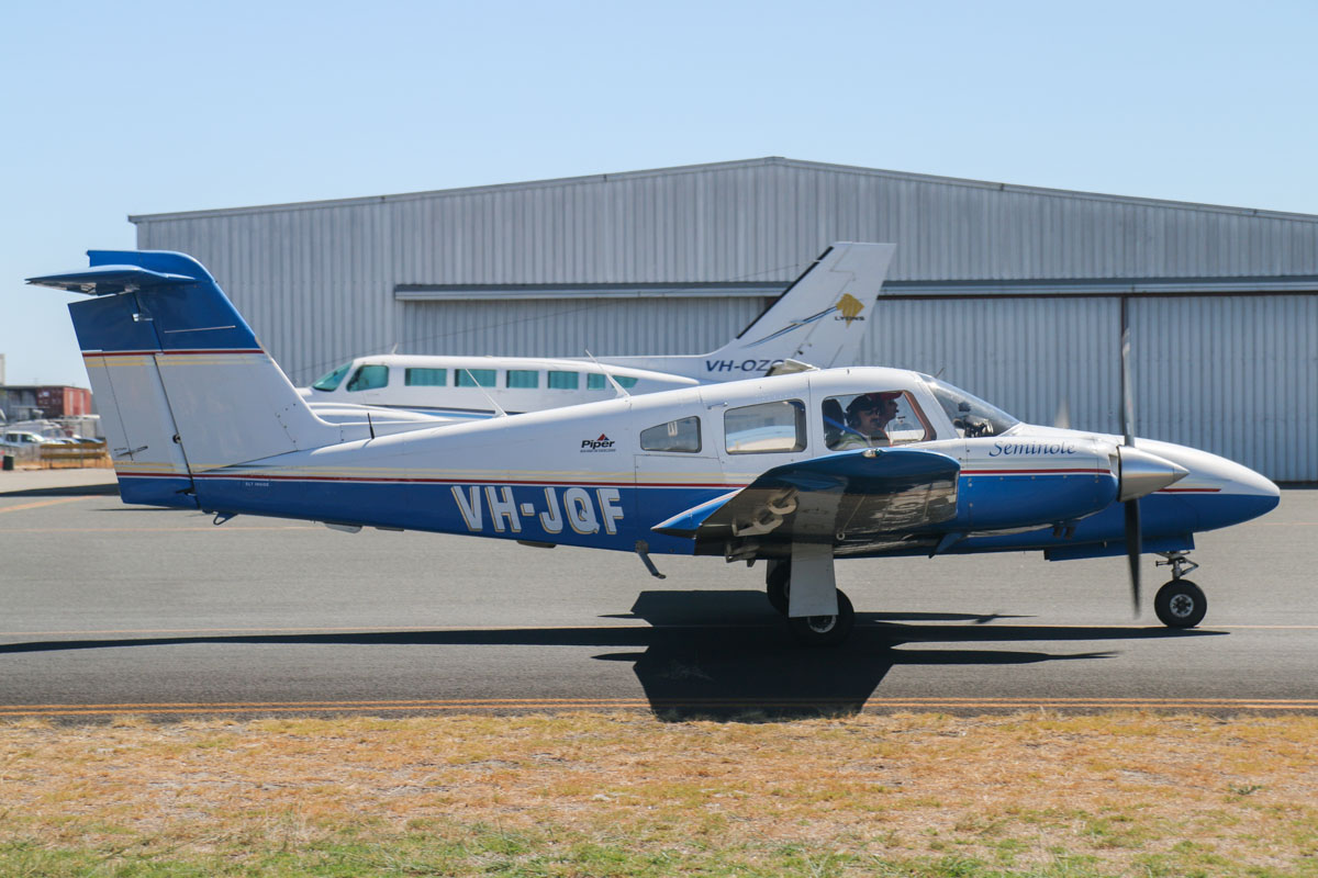 VH-JQF Piper PA-44-180 Seminole (MSN 44-7995291) owned by Moorabbin Aviation Services, but believed to be operated by Advanced Cockpit Flight Training (ACFT), at Jandakot Airport - Mon 17 March 2014. Photo © David Eyre