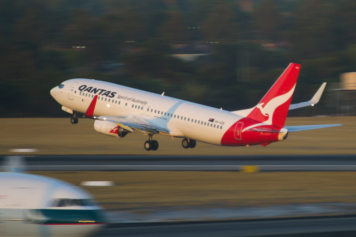 "VH-XZK Boeing 737-838 (MSN 39366/4705) of Qantas, named ""Cook"", at Perth Airport – Mon 17 March 2014. Photo © David Eyre"