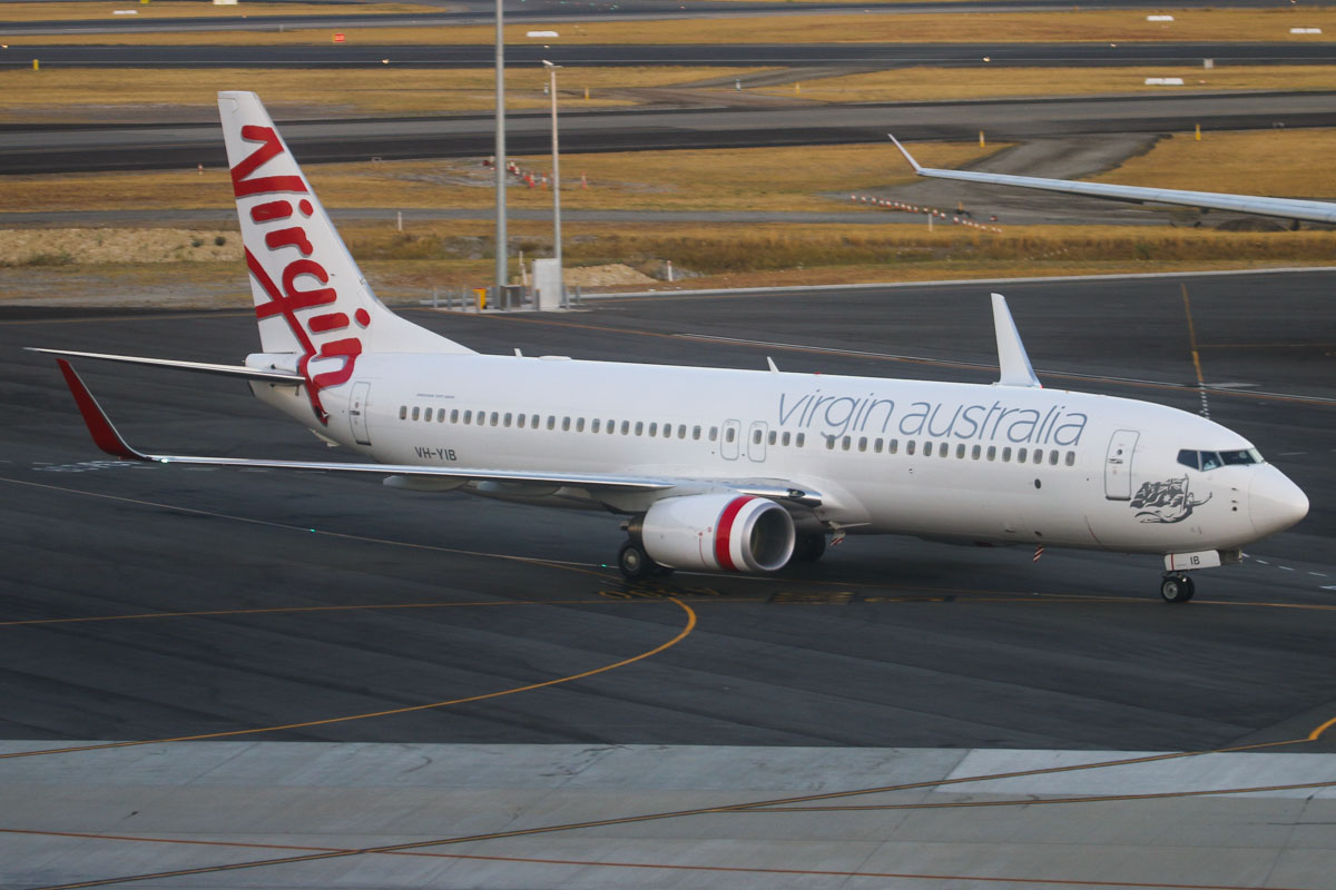 "VH-YIB Boeing 737-8FE (cn 37825/3758) of Virgin Australia, which is named ""Trinity Beach"" (name not painted on aircraft), at Perth Airport – Mon 17 March 2014. Photo © David Eyre"
