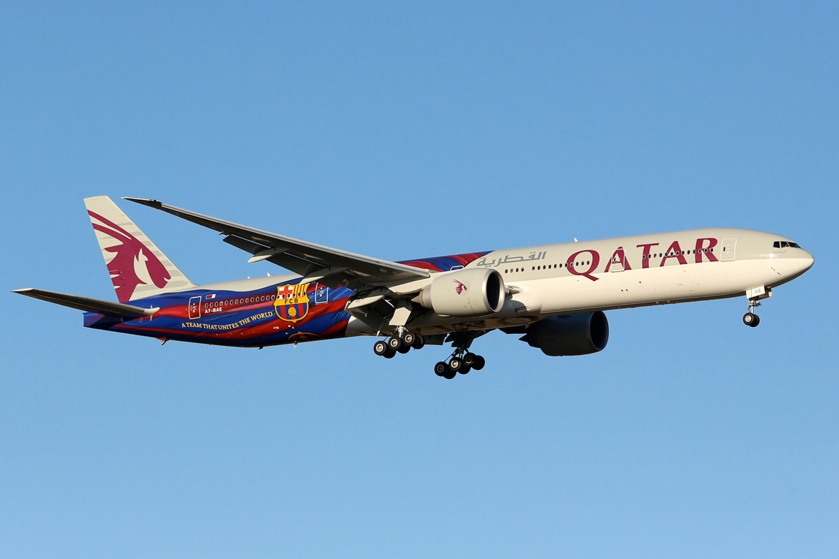 "A7-BAE Boeing 777-3DZER (MSN 36104/769) of Qatar Airways, named ""Almas-Habia"", in FC Barcelona special livery, at Perth Airport – Tue 18 March 2014. Photo © Matt Hayes"