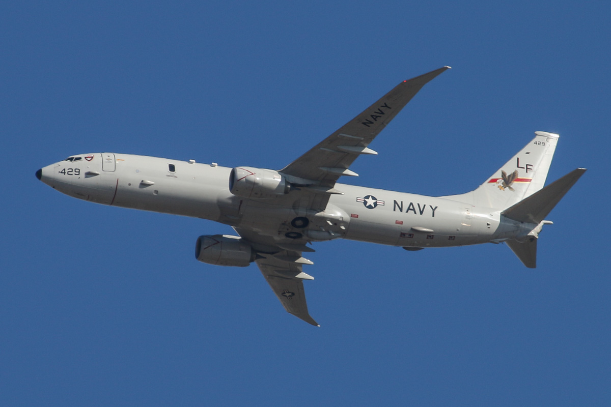 168429/LF-429 Boeing P-8A Poseidon (737-8FV) (MSN 40809/3792) of US Navy squadron VP-16 'War Eagles', over the northern suburbs of Perth - Wed 19 March 2014. Photo © David Eyre