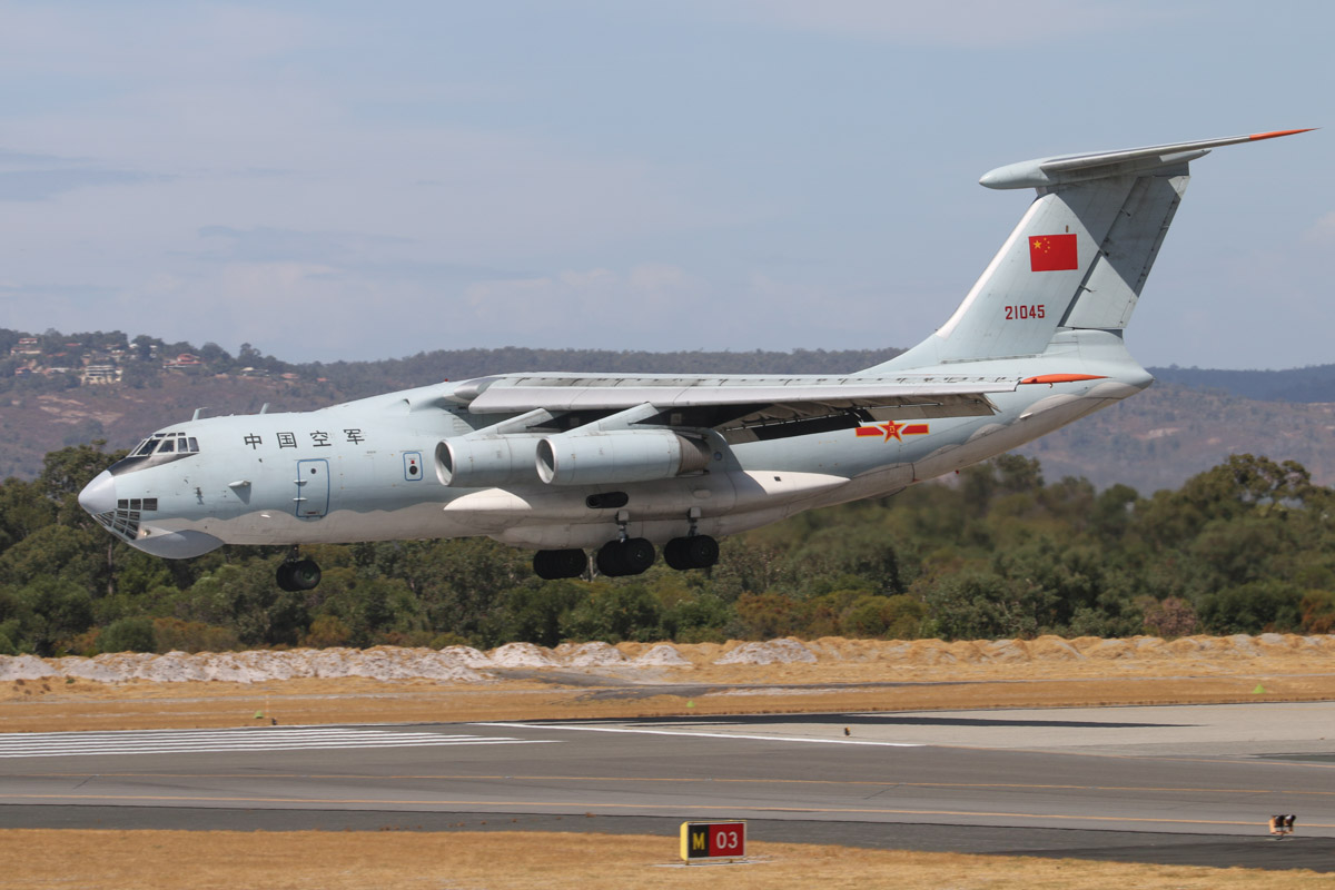 21045 Ilyushin IL-76MD (MSN 1033416524) of the Peoples Liberation Army Air Force (PLAAF), 13th Transport Division, 39th Air Regiment, Dangyang, China, at Perth Airport – Sat 22 March 2014. Photo © David Eyre