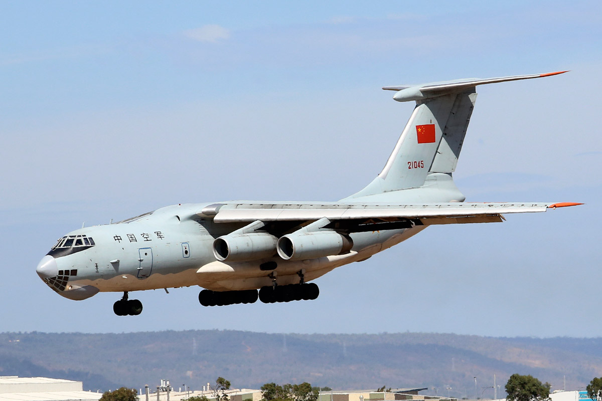 21045 Ilyushin IL-76MD (MSN 1033416524) of the Peoples Liberation Army Air Force (PLAAF), 13th Transport Division, 39th Air Regiment, Dangyang, China, at Perth Airport - Sat 22 March 2014. Photo © Matt Hayes