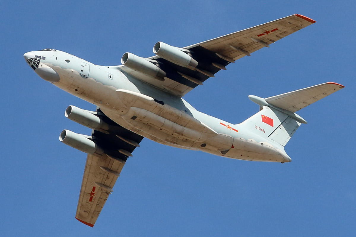21045 Ilyushin IL-76MD (MSN 1033416524) of the Peoples Liberation Army Air Force (PLAAF), 13th Transport Division, 39th Air Regiment, Dangyang, China, over the northern suburbs of Perth - Sat 22 March 2014. Photo © Matt Hayes