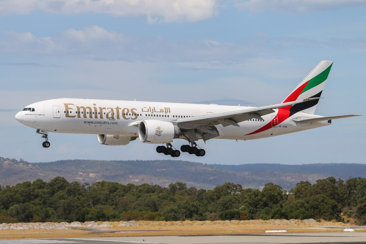 A6-EWE Boeing 777-21HLR (MSN 35582/725) of Emirates, at Perth Airport - Sat 22 March 2014. Photo © David Eyre