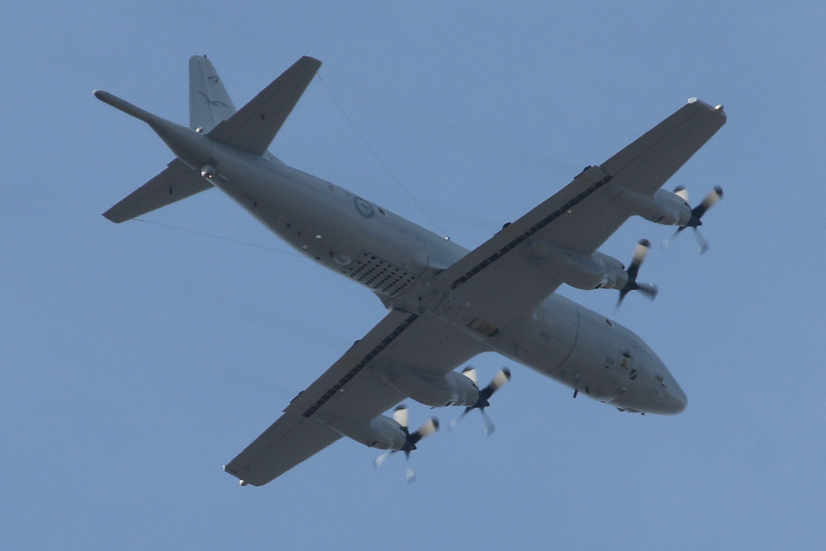 A9-... Lockheed AP-3C Orion of 11 Squadron, Royal Australian Air Force, based at Edinburgh, SA, over the northern suburbs of Perth - Sat 22 March 2014. Photo © David Eyre