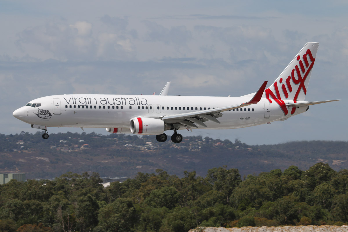 "VH-VUV Boeing 737-8FE (MSN 37821/3288) of Virgin Australia, named ""Binalong Bay"" at Perth Airport - Sat 22 March 2014. Photo © David Eyre"