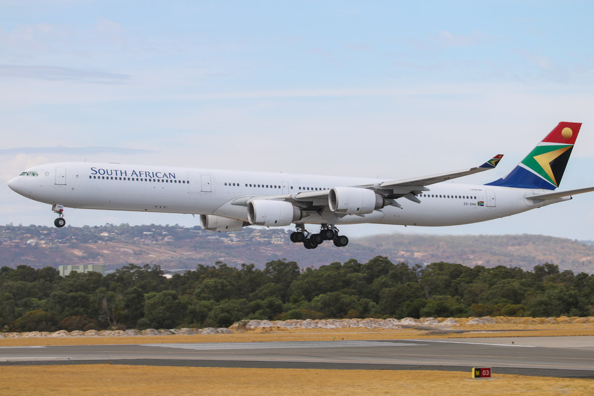 ZS-SNH Airbus A340-642 (MSN 626) of South African Airways, at Perth Airport - Sat 22 March 2014. Photo © David Eyre
