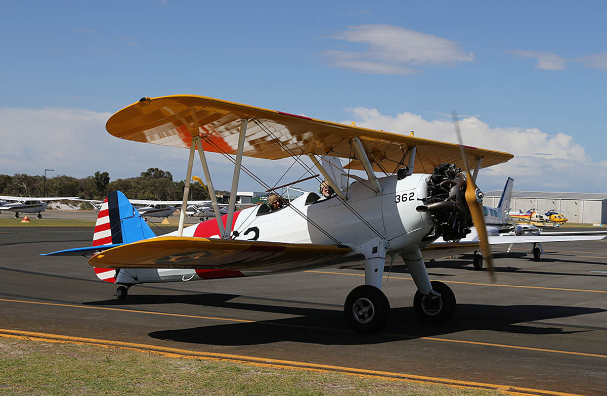 "VH-YND / ""42-755362 / 362"" Boeing E75 (N2S-5) Stearman (MSN 75-5362) owned by Carl Ende, at Jandakot Warbirds Aircraft Display Day, at Jandakot Airport - Sun 23 March 2014. Photo © Keith Anderson"